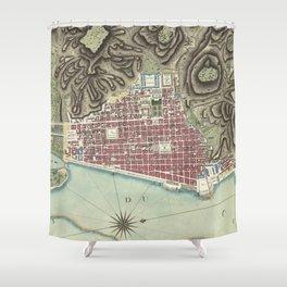 Vintage Map of Cap-Haitien Haiti (1786) Shower Curtain