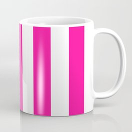 Fluorescent pink - solid color - white vertical lines pattern Coffee Mug