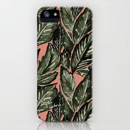 Feathery Leaves - Burnt Orange Olive iPhone Case
