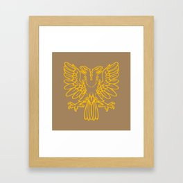 yellow double-headed eagle on brown background Framed Art Print