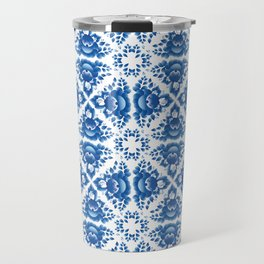 Vintage shabby Chic Seamless pattern with blue flowers and leaves Travel Mug