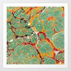 Marbled Green Orange Art Print