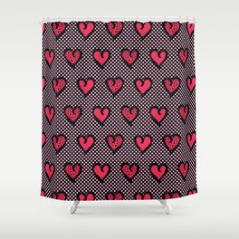 Red brush stroke dotty love hearts Shower Curtain