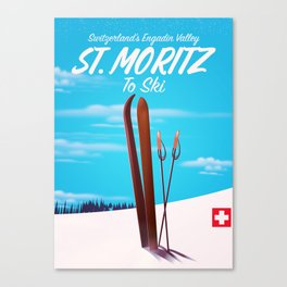 St. Moritz Switzerland ski poster Canvas Print