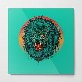 Zombie Lion Metal Print