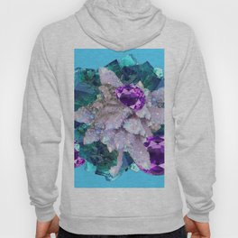 PURPLE AMETHYST  AQUAMARINE QUARTZ CRYSTAL ART Hoody