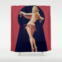pinup Shower Curtains featuring pinup 1 by NAME THEGREY