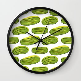 Pattern with green cucumbers Wall Clock