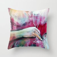 champagne Throw Pillows featuring Champagne by By Malino