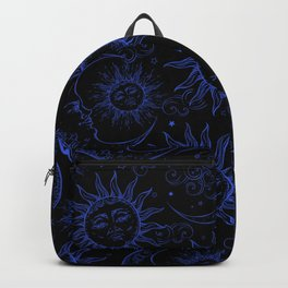 Black & Blue Magic Celestial Vintage Sun & Moon Backpack