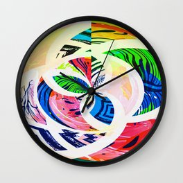 Bright Botanical Swirls Abstract Design Wall Clock