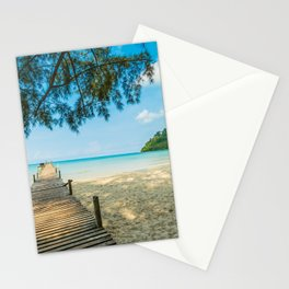 Sea beach in hot summer Stationery Cards