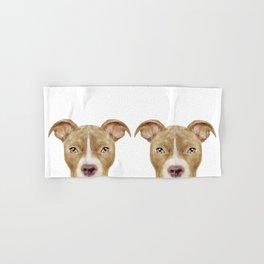 Pit Bull light Brown 2,Dog illustration original painting print Hand & Bath Towel