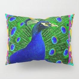 Chartreuse Wildlife Art Blue Peacock & Yellow Butterflies Art Pillow Sham