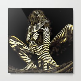2669s-AK Crouching Nude Woman Technology by Chris Maher Metal Print