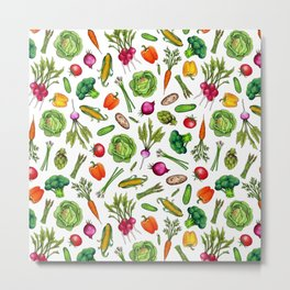 Vegetable Garden - Summer Pattern With Colorful Veggies Metal Print