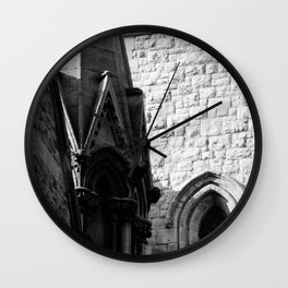 Stone Archway in a Chapel in UK B/W photograph by Larry Simpson Wall Clock