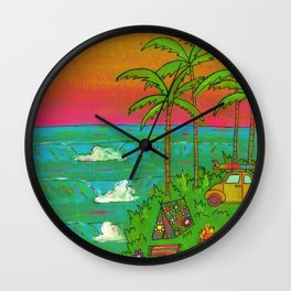 VW Beatle Bug Surf Paradise Adventure Wall Clock
