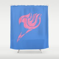 fairy tail Shower Curtains featuring Fairy Tail Segmented Logo Lucy by JoshBeck