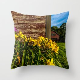 Yellow Flowers - Red Barn Throw Pillow