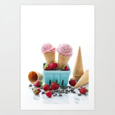 Strawberry Ice Cream Art Print