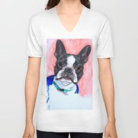 boston terrier V-neck T-shirts featuring Boston Terrier by A.M.