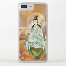 Round Halo Kuan Yin Clear iPhone Case
