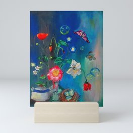 Flowers in Cobalt Mini Art Print