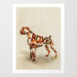 German Boxer Typography Art / Watercolor Painting Art Print