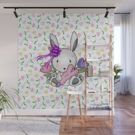Easter Bunny And Tulips Wall Mural