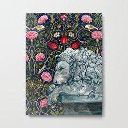 Stone Lion Original Watercolor Metal Print