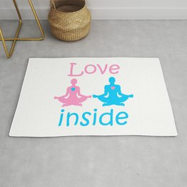 Love inside - a couple of yogis in the Lotus position meditate at  Valentine's day with hearts Rug