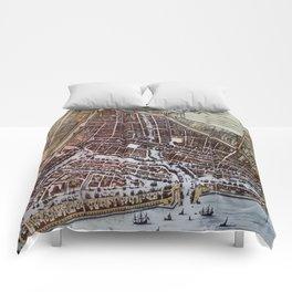 Replica city map of Rotterdam 1652 Comforters