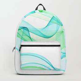 Sea Wave Pattern Abstract Aqua Blue Green Waves Backpack