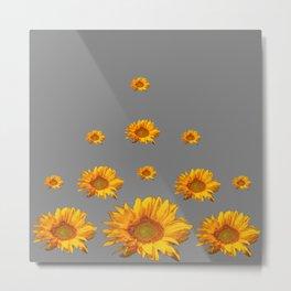 RAINING GOLDEN YELLOW SUNFLOWERS GREY Metal Print