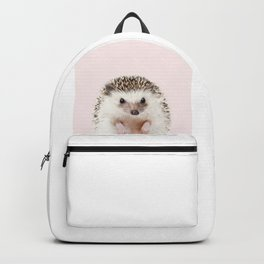 Baby Hedgehog With Pink Background, Baby Animals Art Print By Synplus Backpack