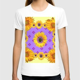 Lilac & Yellow Sunflowers Pattern Art T-shirt