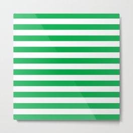 Horizontal Green Stripes Metal Print