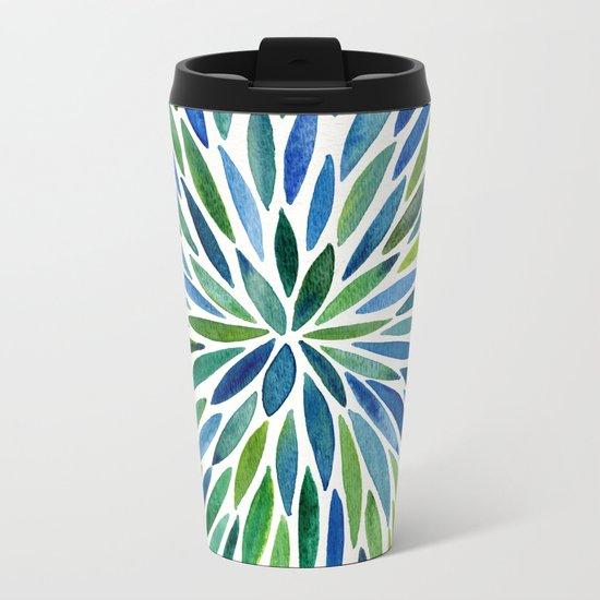 Watercolor Burst – Blue & Green Metal Travel Mug
