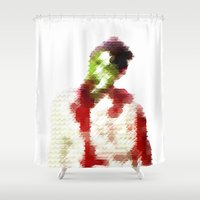8 bit Shower Curtains featuring 8-bit zombie by Jessica Slater Design & Illustration