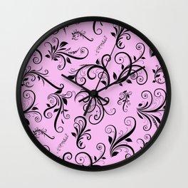 Royal Damask, Ornaments, Swirls - Pink Black Wall Clock