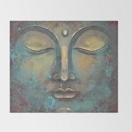 Rusty Golden Copper Buddha Face Watercolor Painting Throw Blanket