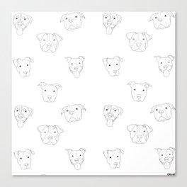 White pit bull love Canvas Print