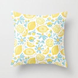 Lemon pattern White Throw Pillow
