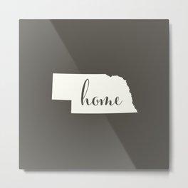 Nebraska is Home - White on Charcoal Metal Print