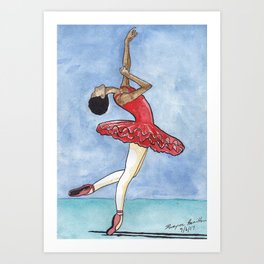 Ballerina In Red Art Print