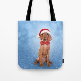 Drawing funny Vizsla pointer in red hat of Santa Claus Tote Bag