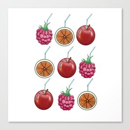 fresh fruits and cocktail rolls Canvas Print