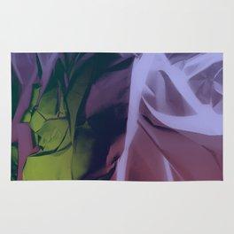 Deep Purple and Green Abstract Rug