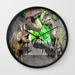 3D Dinosaurs and Broken Wall Wall Clock